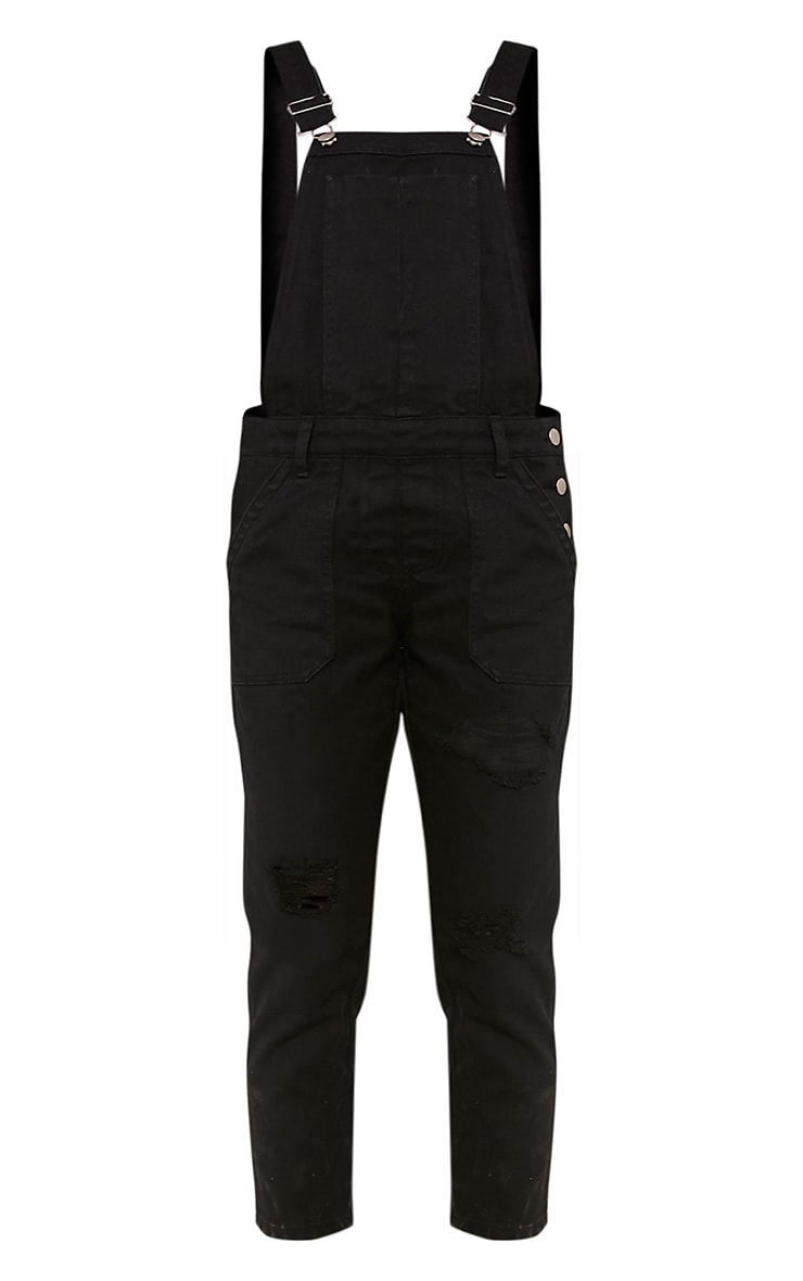 Carla Black Extreme Rip Cropped Denim Dungarees 3