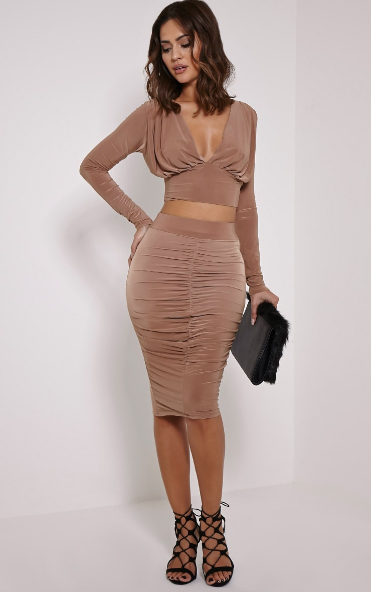 Nicole Camel Slinky Ruched Midi Skirt 1