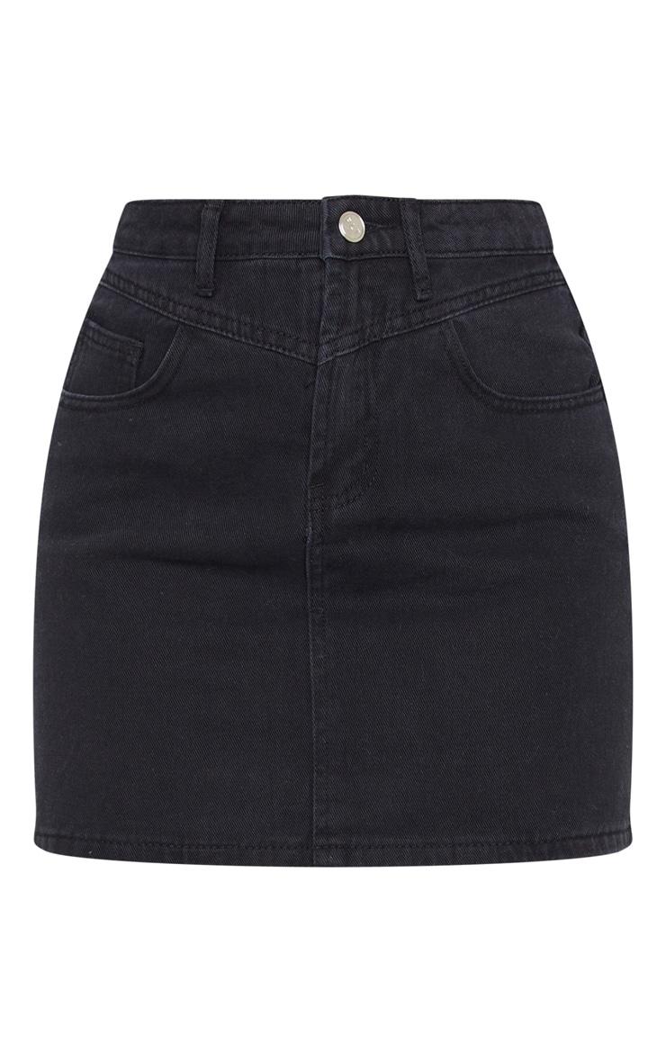 Black V Panel Black Denim Skirt 6