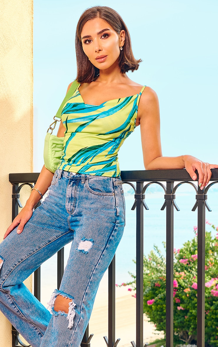 Lime Slinky Abstract Print Cowl Neck Cami Top