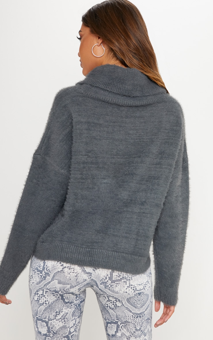 Charcoal High Neck Fluffy Knit Cropped Sweater 2