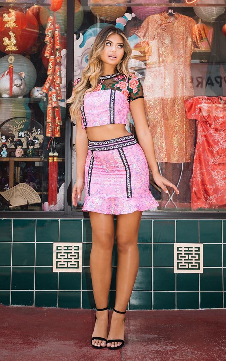 Premium Pink Jacquard Frill Hem Mini Skirt 1