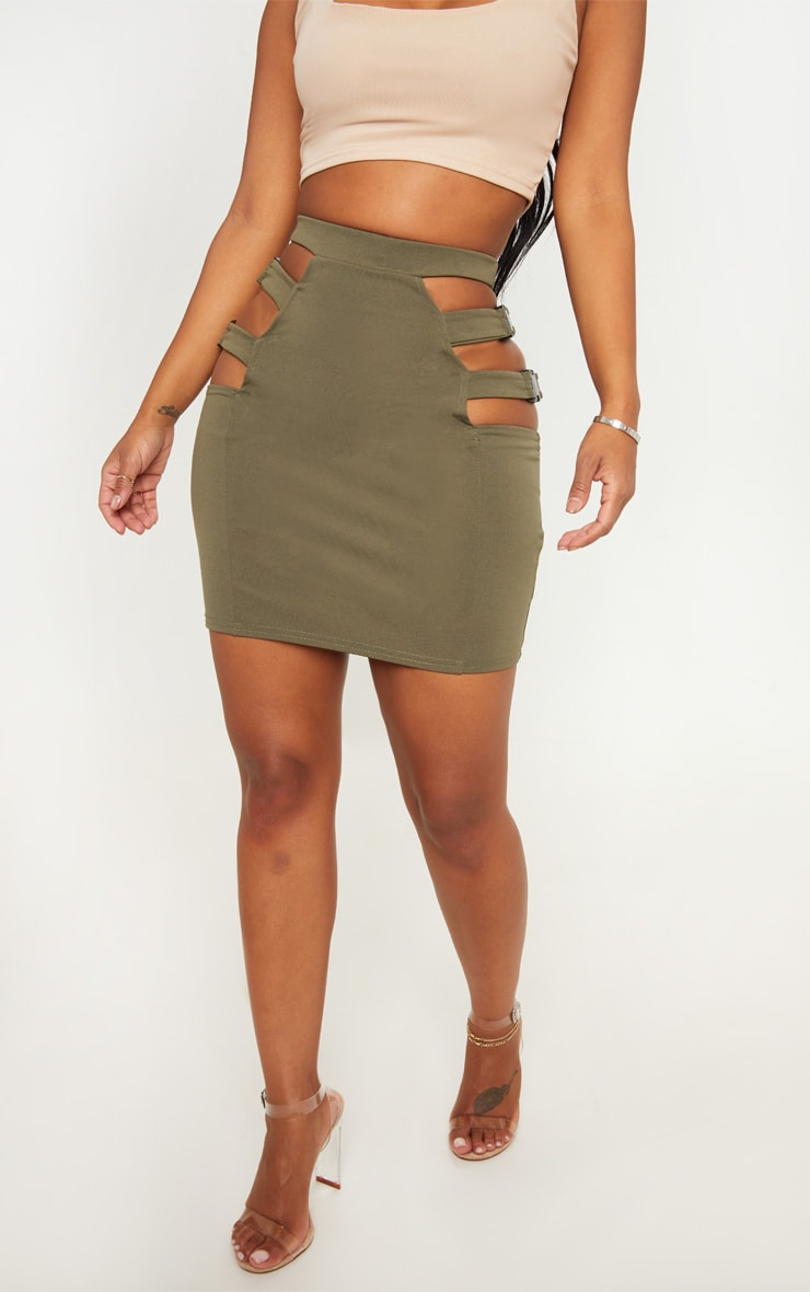 Shape Khaki Extreme Cut Out Buckle Detail Bodycon Skirt 2