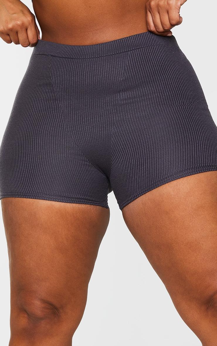Plus Charcoal Rib Bike Shorts 5