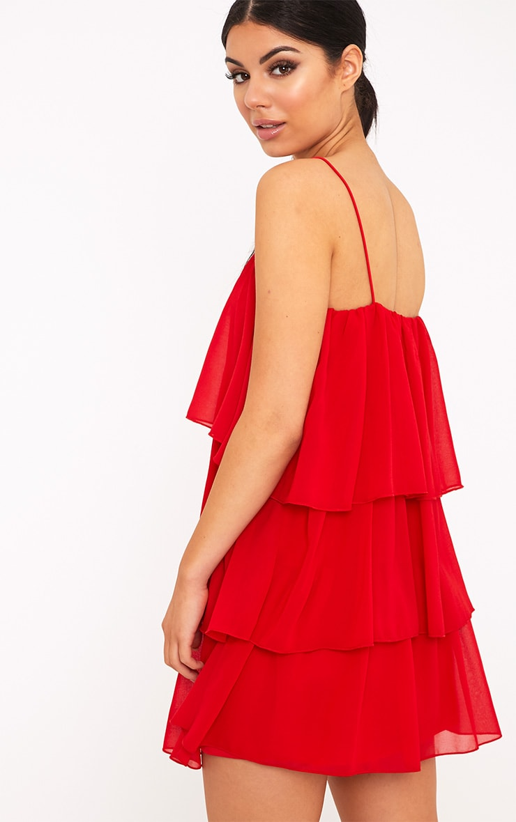 Indira Red Chiffon Frill Layer Shift Dress 2
