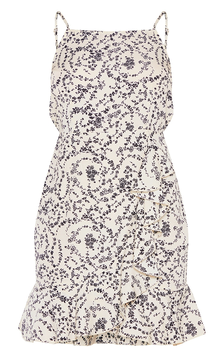 Cream Ditsy Floral Print Frill Hem Bodycon Dress  3