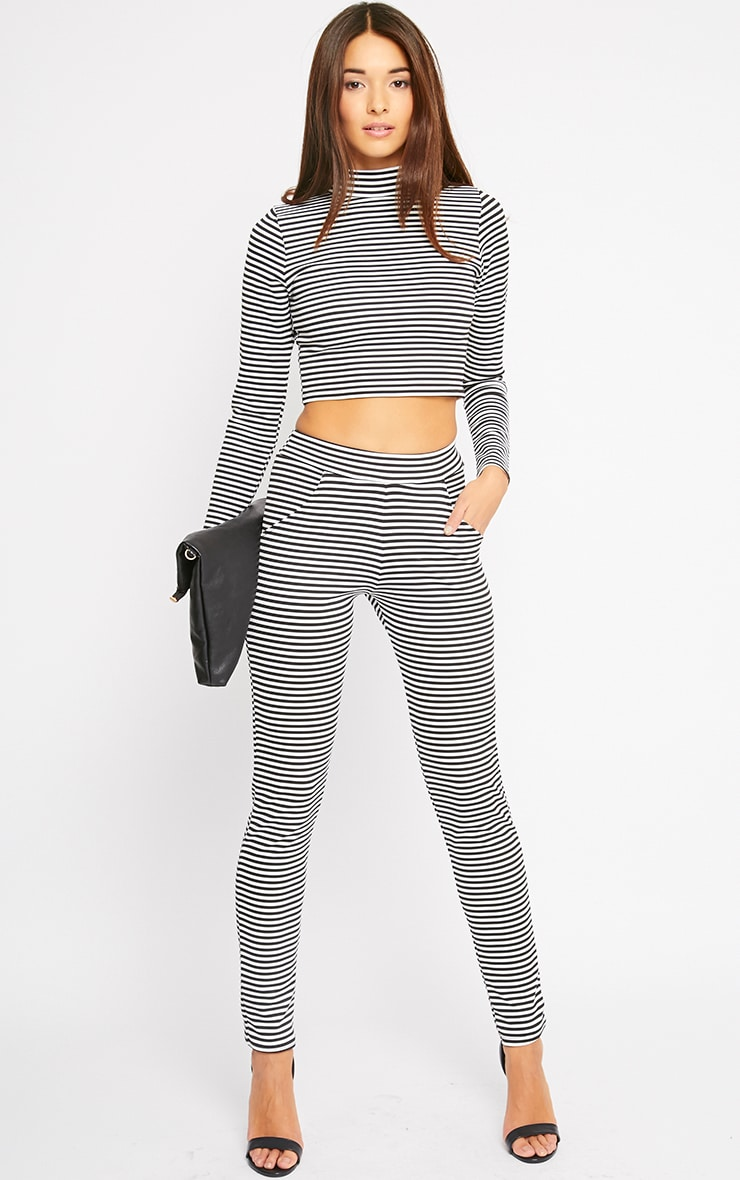 Allegra Monochrome Striped Turtle Neck Crop Top  3