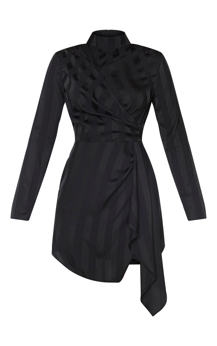 Black Striped High Neck Draped Bodycon Dress 5
