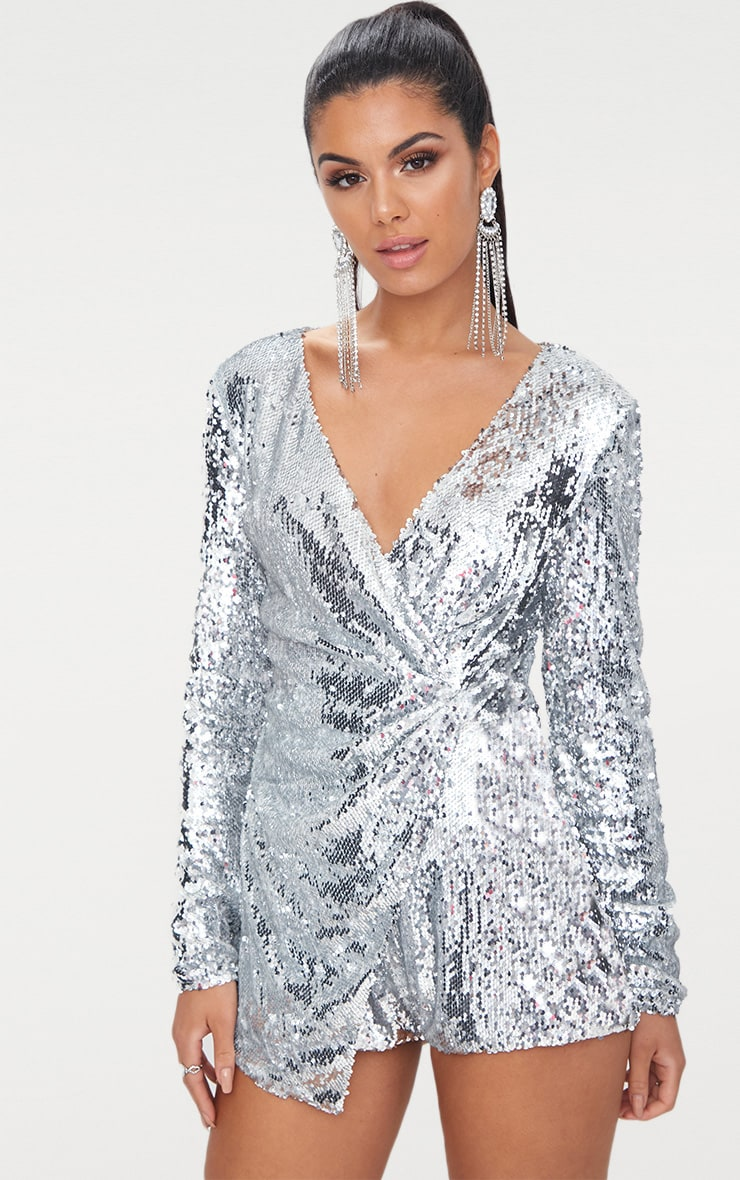 969baecb6fdd Silver Sequin Long Sleeve Wrap Playsuit image 1