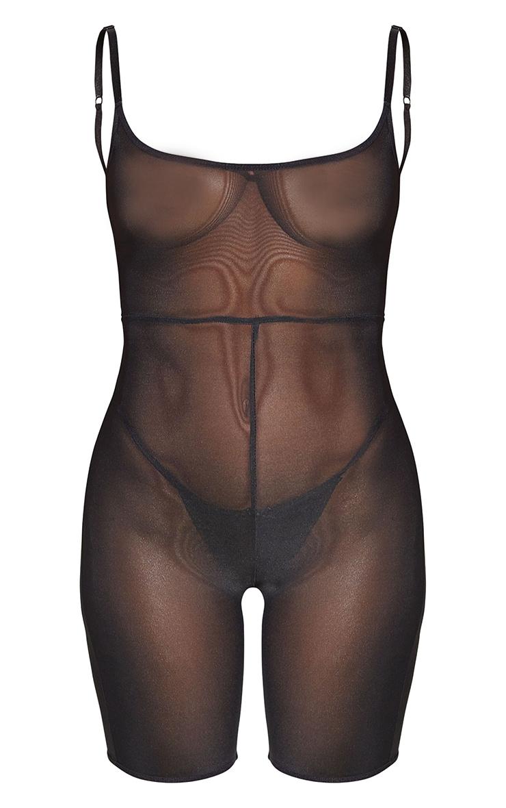 Black Shapewear Power Mesh Control Low Back Longline Body 5