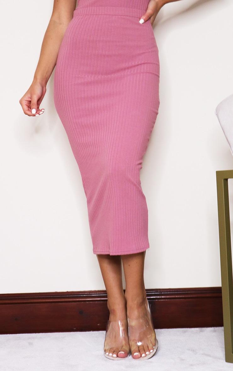 Dark Rose Soft Ribbed Midaxi Skirt 2