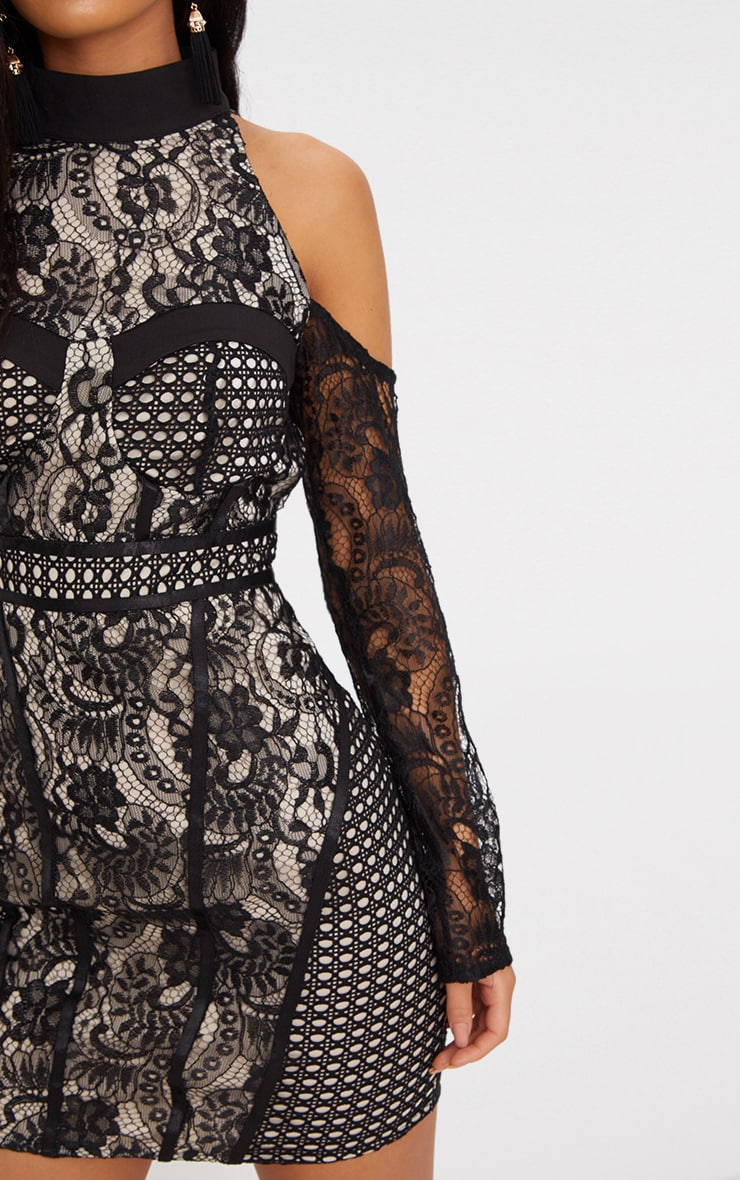 Black Cold Shoulder Lace Panelled Bodycon Dress 5