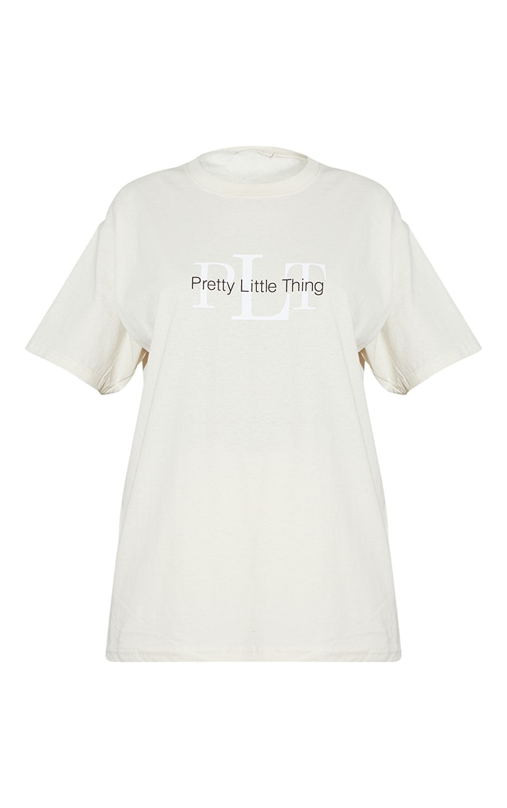 PRETTYLITTLETHING Sand Oversized Graphic T Shirt 5