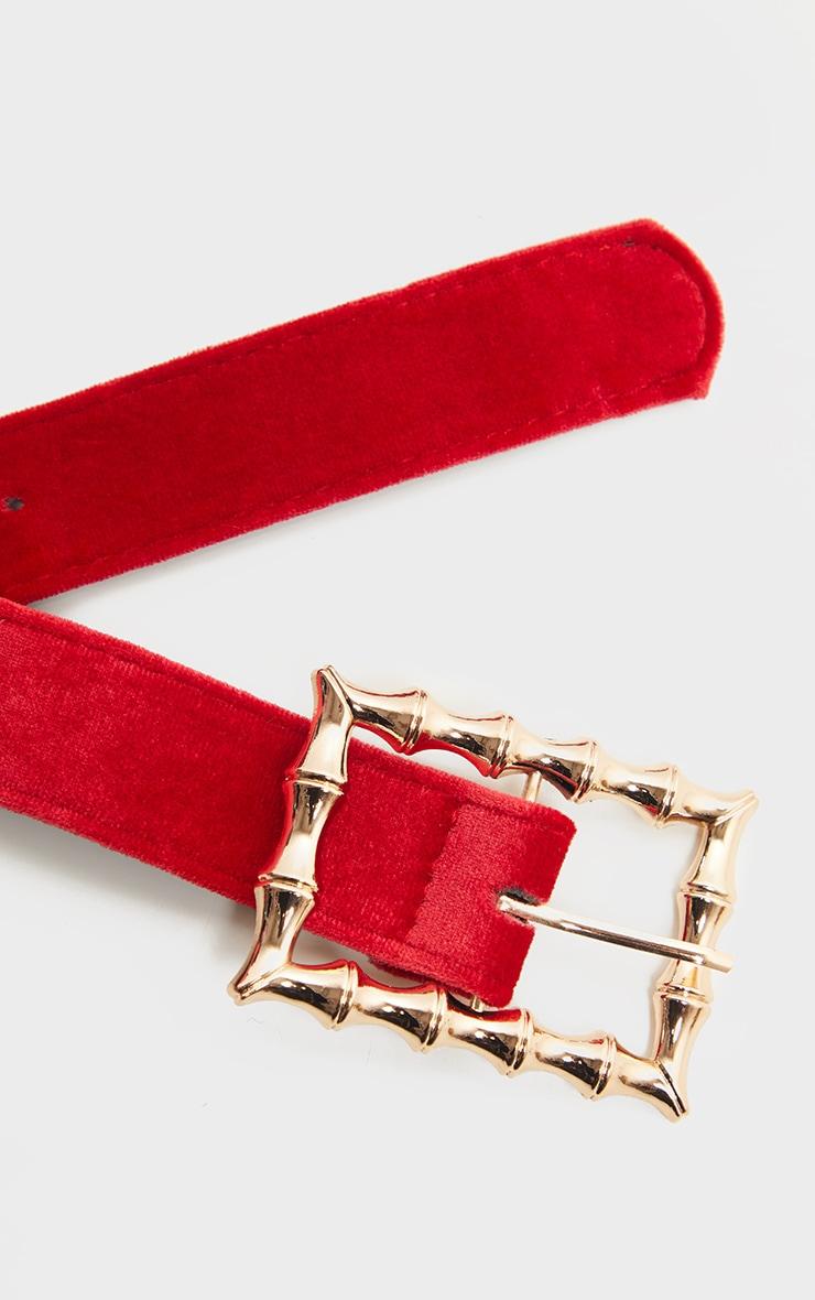 Scarlet Red Velvet Bamboo Buckle Belt 3