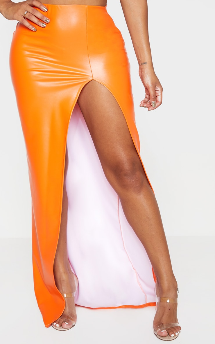 Shape Orange PU Split Front Maxi Skirt  2