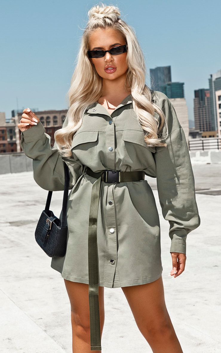 Khaki Cargo Oversized Popper Front Shirt Dress 4