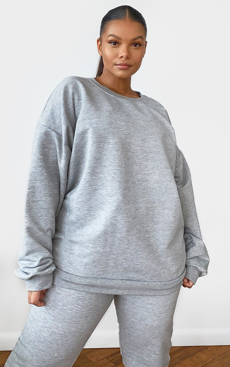 Plus Grey Marl Ultimate Oversized Sweater 1