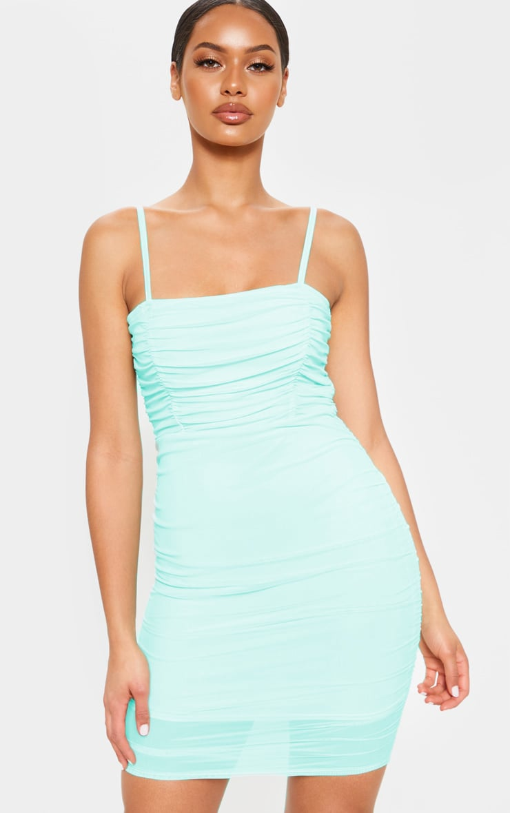 Mint Ruched Bodycon Dress 4