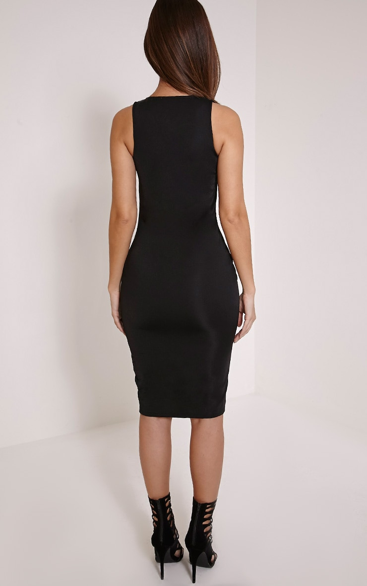 Edie Black Zip Front Midi Dress 2