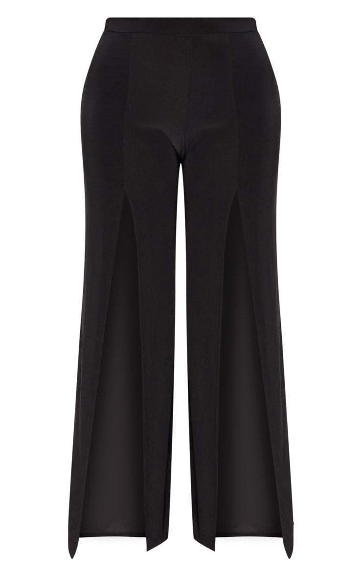 Plus Black Slinky Split Front Wide Leg Trousers 3