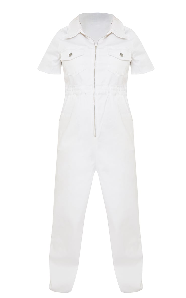 Maternity White Denim Contrast Seam Short Sleeve Jumpsuit  5