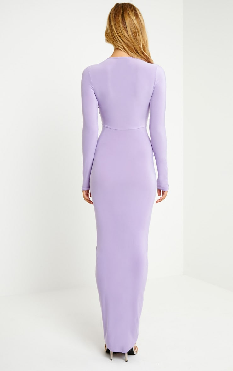 Ellie Lilac Slinky Ruched Maxi Dress 2