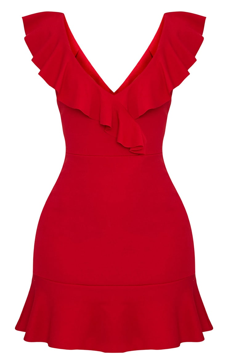 Luissi Red Frill Detail Bodycon Dress 3