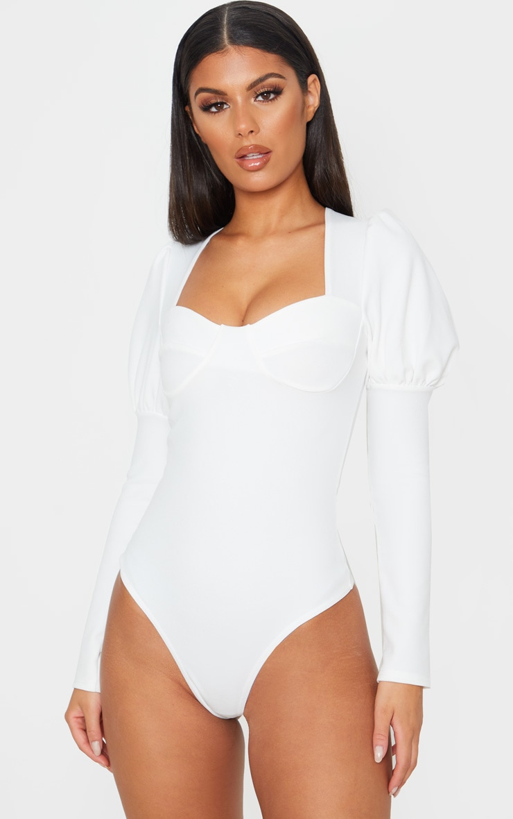 White Crepe Puff Sleeve Square Neck Bodysuit 2