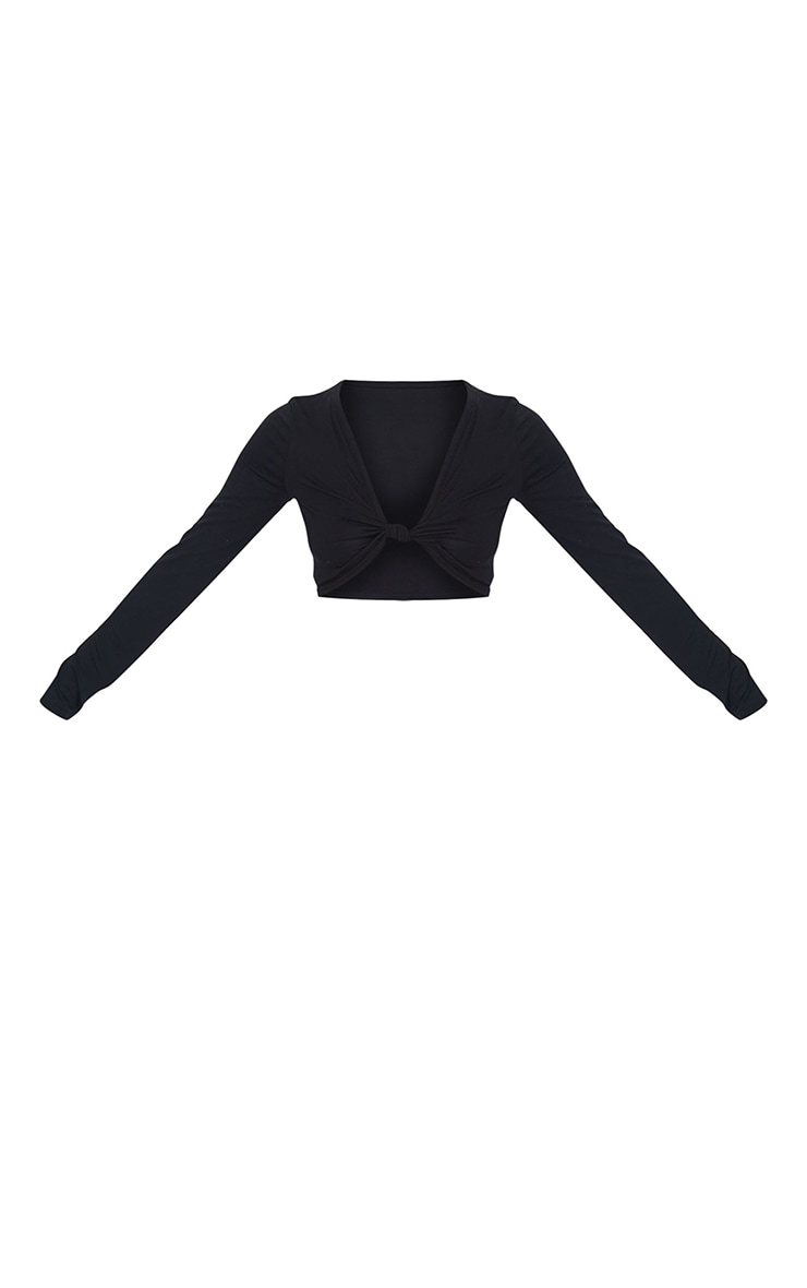 Black Jersey Knot Front Long Sleeve Crop Top 5