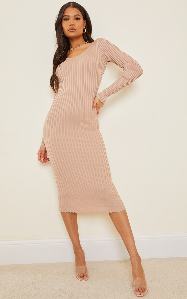 Stone Off Shoulder Rib Knitted Midaxi Dress 1