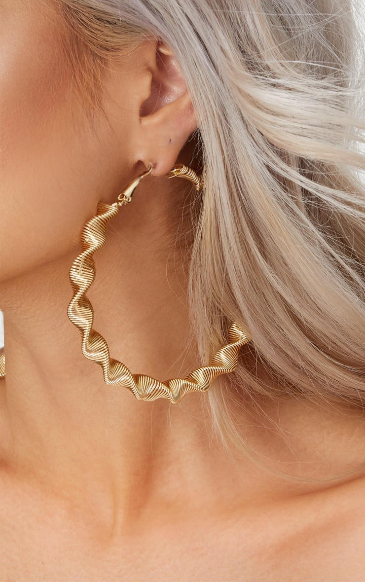 Gold Large Thick Twisted Hoops