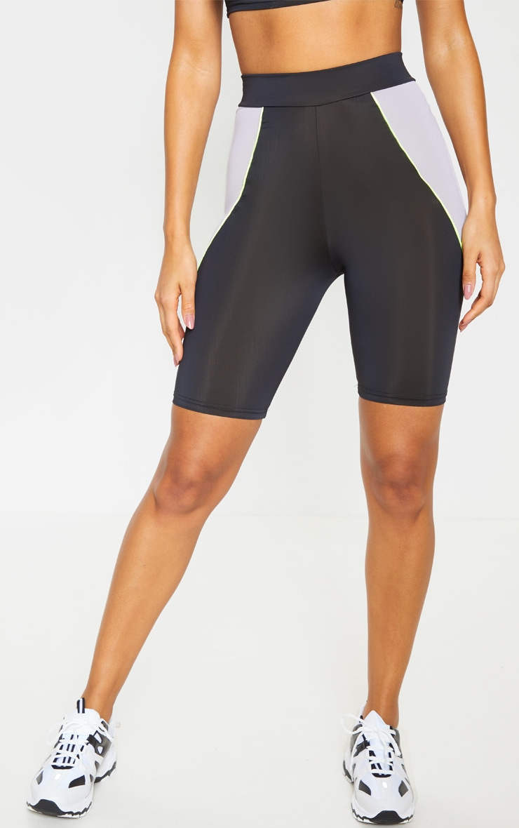 Black Contrast Side Panel Cycling Short  2