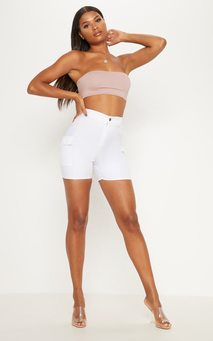 Dusty Pink Cotton Stretch Bandeau Crop Top  4