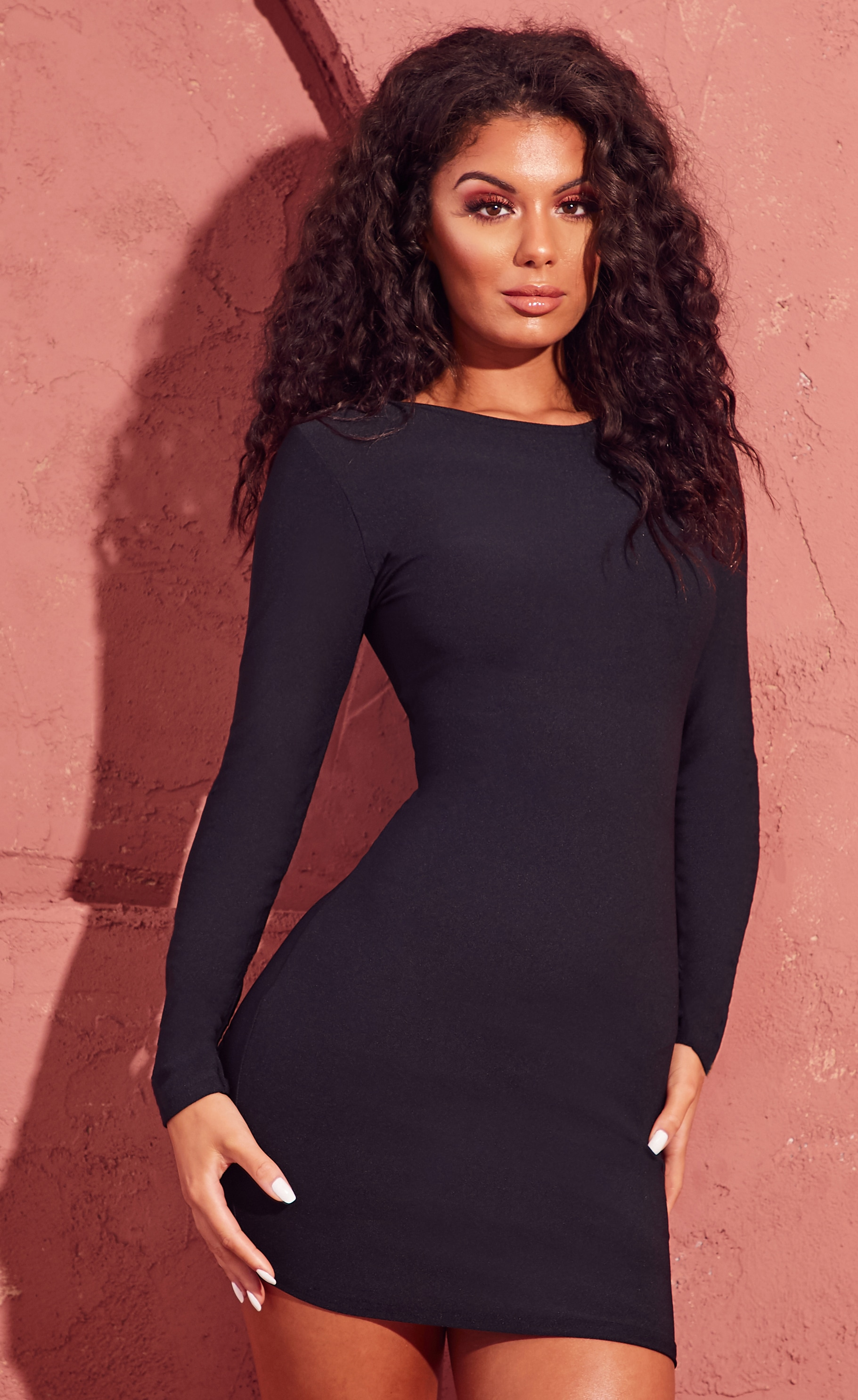 Black Long Sleeve Bodycon Dress 4