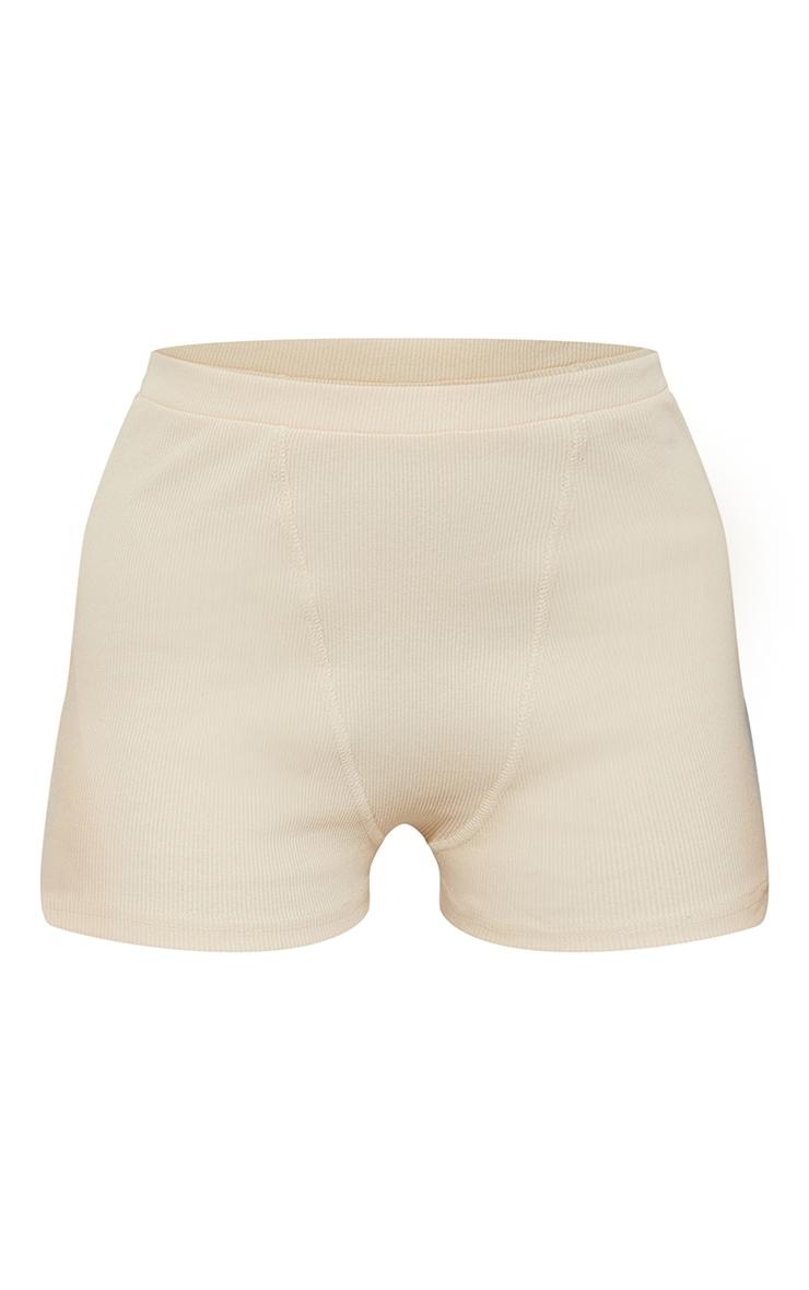 Nude Heavy Rib Boxer Seam Detail Hot Pants 6
