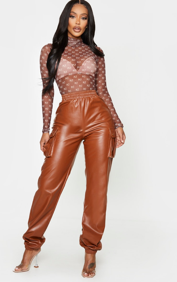 PRETTYLITTLETHING Shape Chocolate Brown Mesh High Neck Bodysuit 3