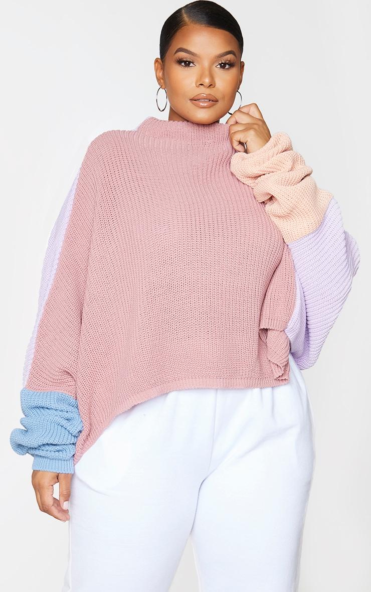 Plus Pink Oversized Colour Block Jumper 1