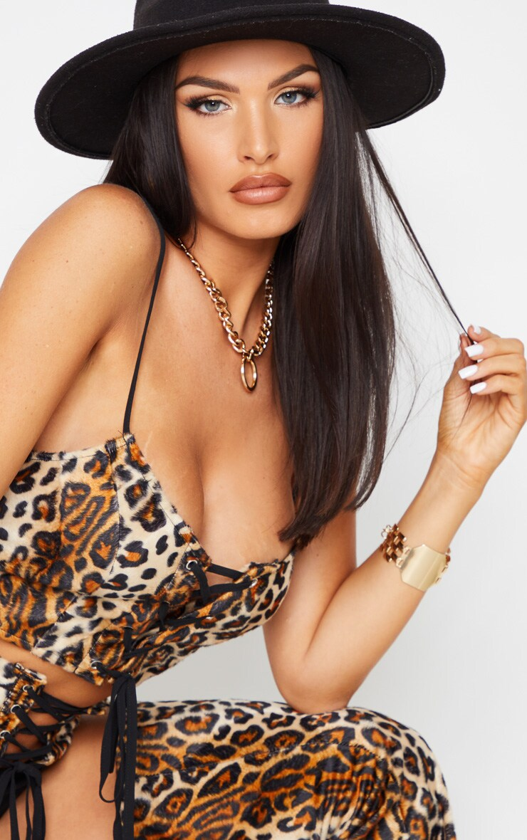 Brown Leopard Print Lace Up Front Woven Bralet 4