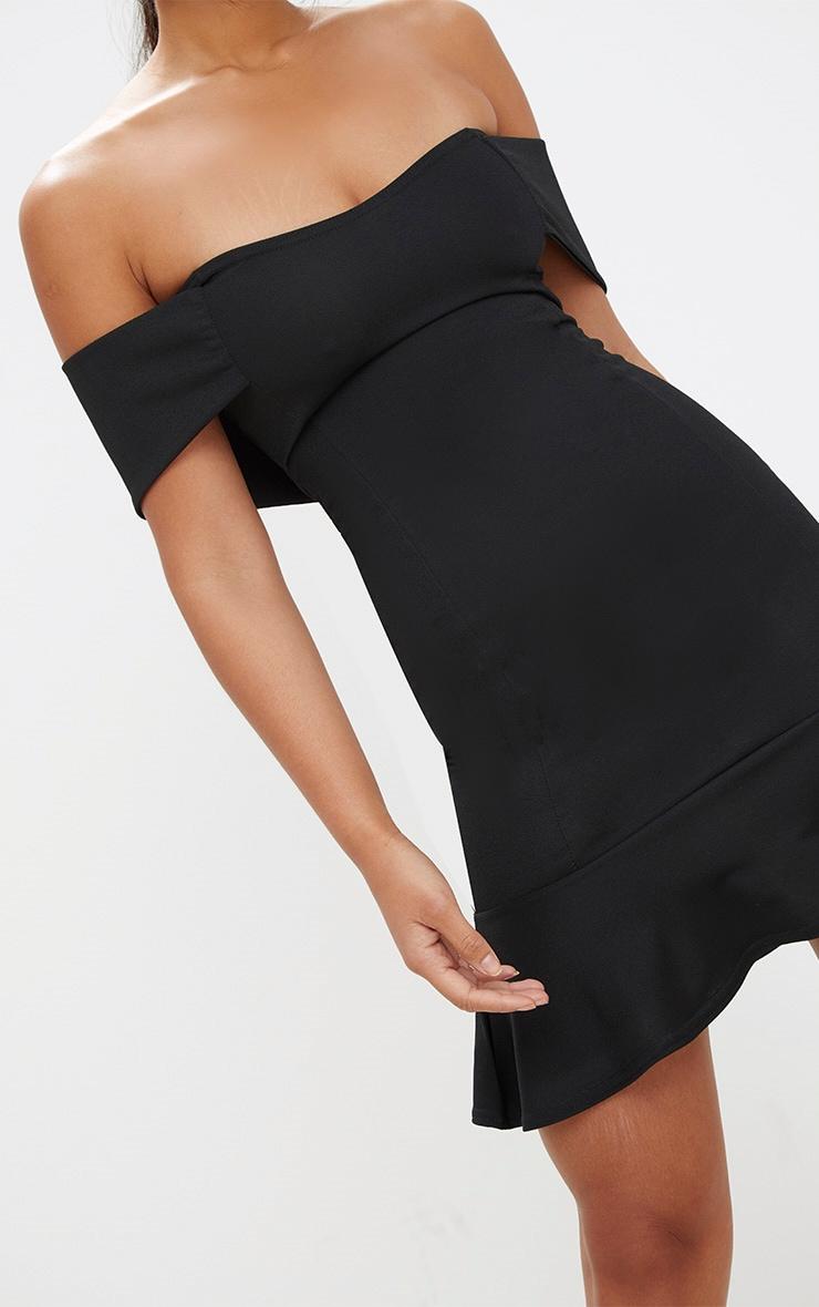 Black Bardot Frill Hem Bodycon Dress 5