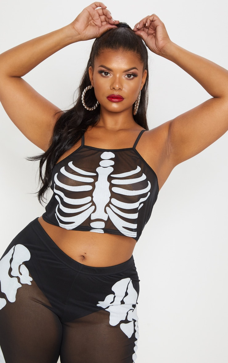 Plus Black Skeleton Print Racer Neck Crop Top 1