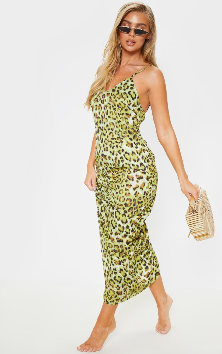 Lime Leopard Chiffon Maxi Beach Dress 1