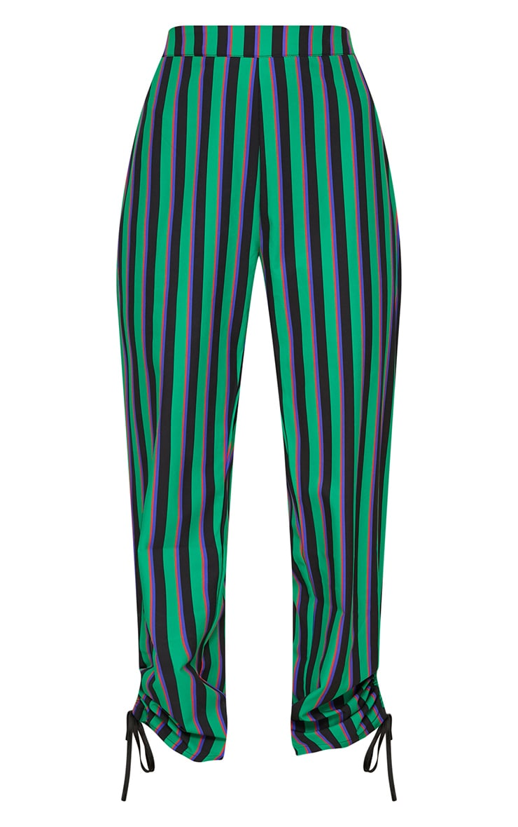 Bright Green Ruched Detail Suit Pants  3