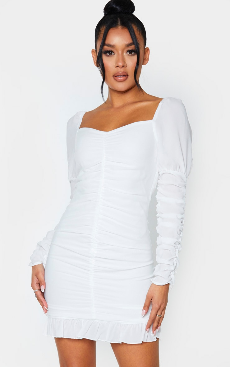 White Ruched Frill Hem Bodycon Dress 1