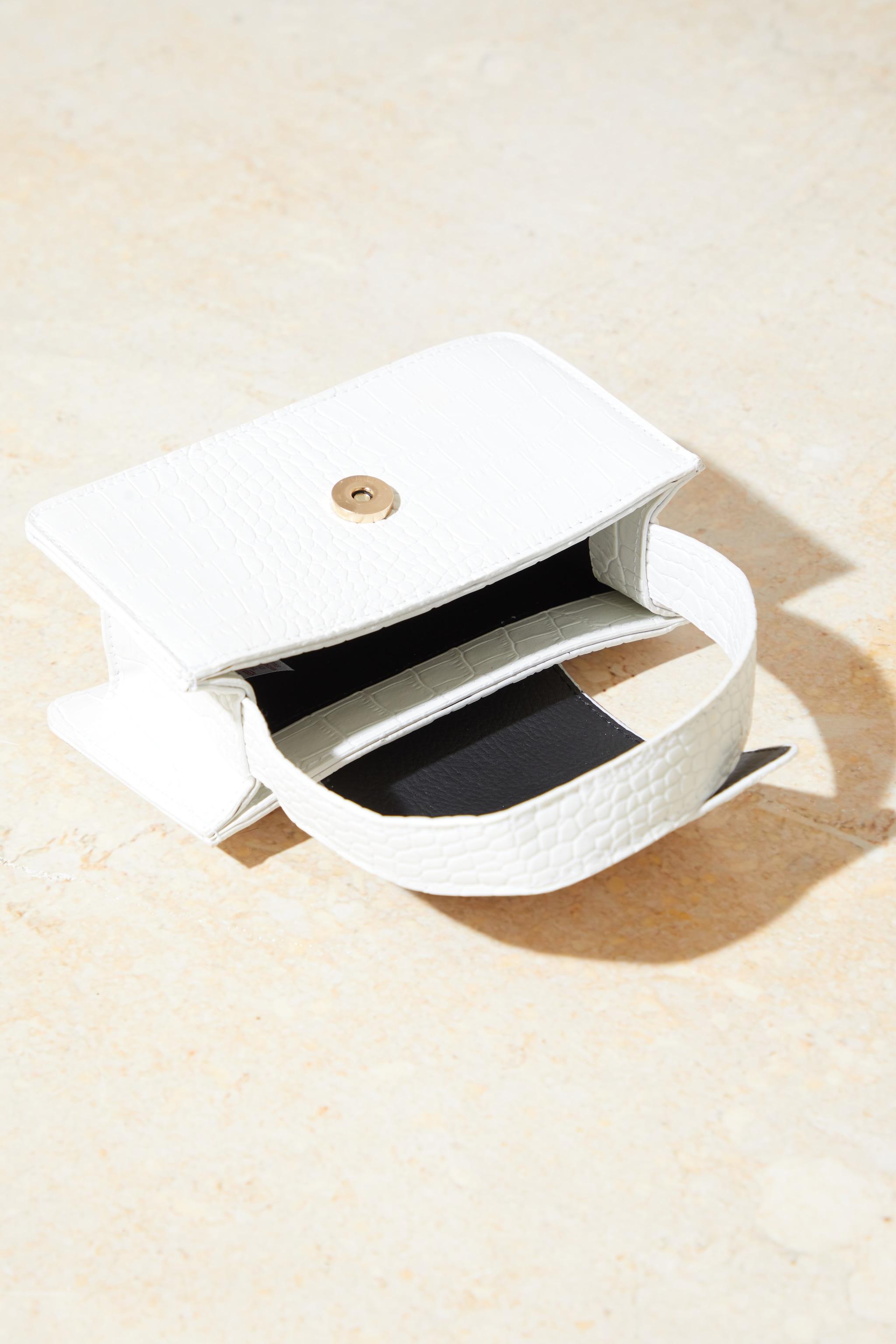 White Croc Front Flap Mini Bag 3