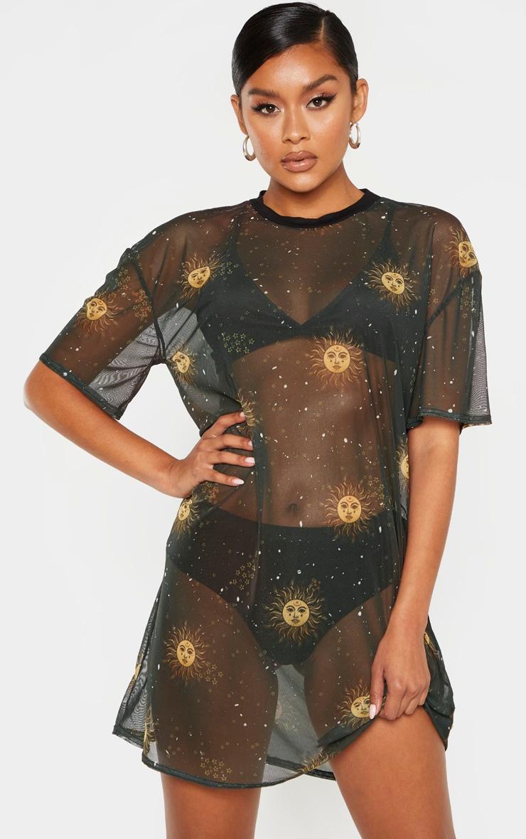 ea4dc3663e5 Black Solar Print Oversized Mesh T Shirt Dress | PrettyLittleThing