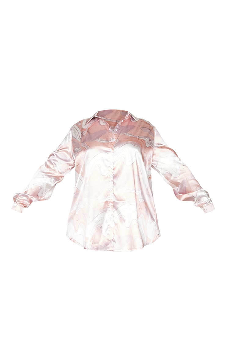Plus Baby Pink Marble Print Oversized Shirt 5