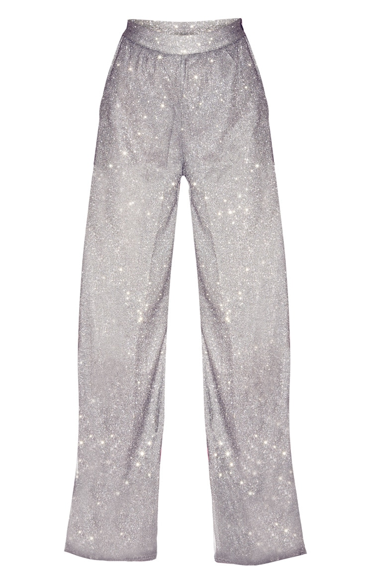 Silver High Waisted Wide Leg Pants 3