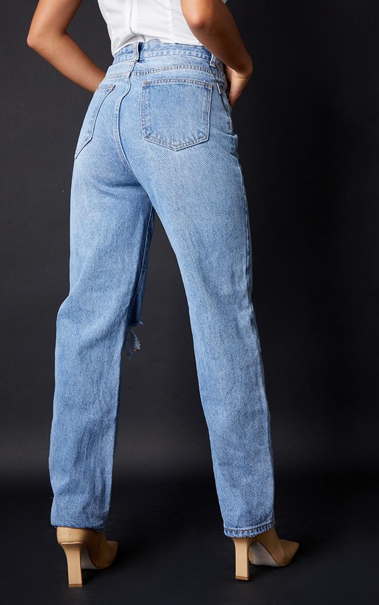Petite Light Blue Wash Open Knee Leg Straight Jean 3