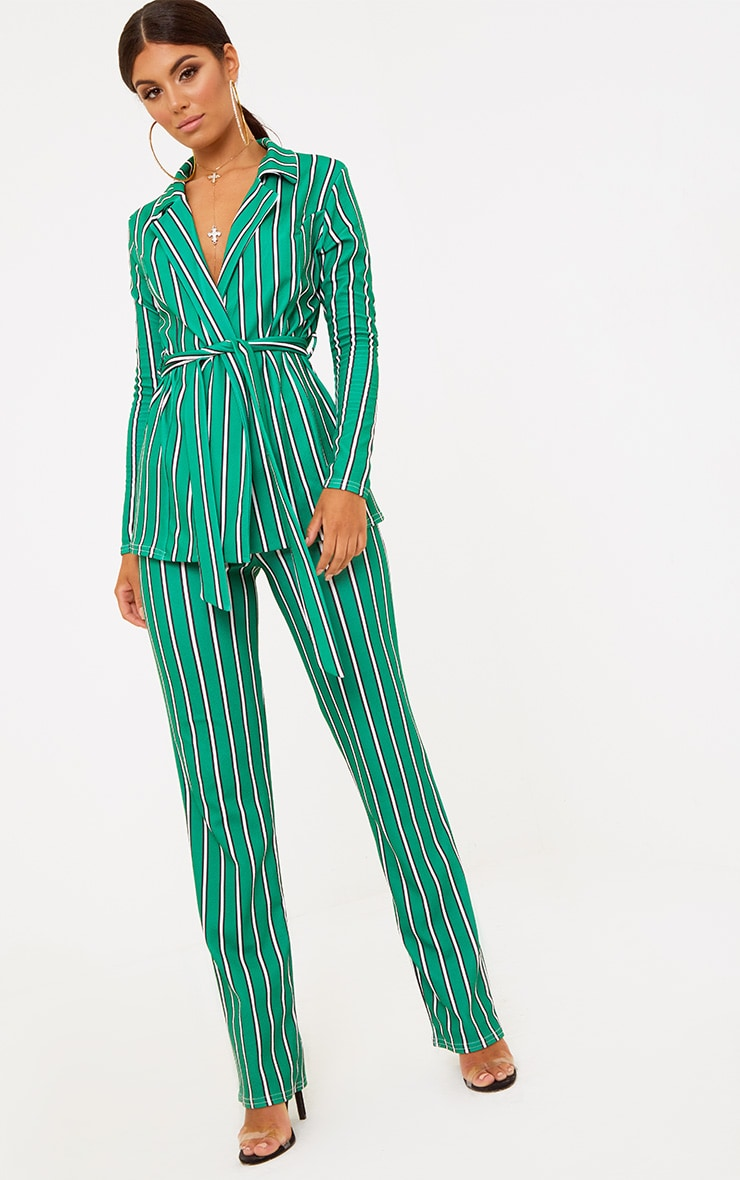 Green Stripe Straight Leg Suit Trousers 2