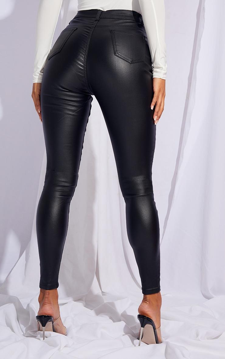 Black Button Detail Coated Skinny 5 Pocket Jeans 3